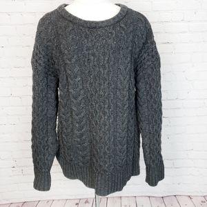 J.Jill Gray Chunky Knit Pullover Wool Sweater